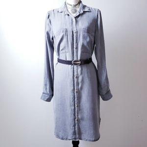 Glam Chambray Button Down Collard Shirt Dress